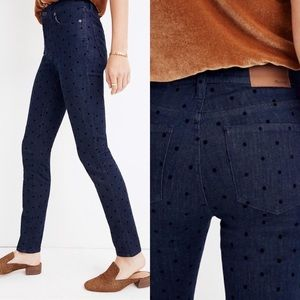 "Madewell 9"" High Rise Skinny Jeans In Flocked Dots"